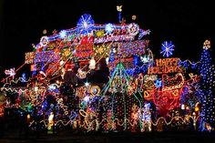 over-the-top holiday lights in Ontario, Canada; holiday home decorations and holiday lights Tacky Christmas Sweater, Merry Christmas To All, Christmas Music, Beautiful Christmas, Christmas Home, Christmas Holidays, Christmas Fireplace, Christmas Design, Christmas Stuff