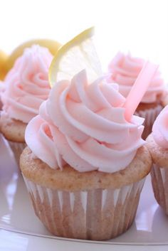White Chocolate Cupcake with Strawberry Frosting