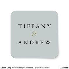 Green Grey Modern Simple Wedding Name Sticker