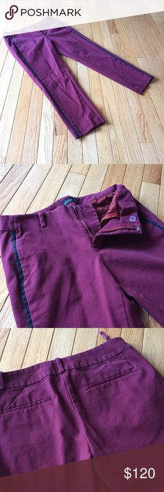 "Kate Spade Saturday violet drifter pants Sz 2 Laid back wear it all the time pair that sits low on the waist, fits easy through the hip and thigh, and hits above the ankle. Great maroon color with black tuxedo stripe down the leg.  Pockets still sewn shut but one belt loop in back has come off on one side as shown. Length approx. 24"". A202 kate spade Pants Ankle & Cropped"