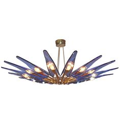 Rare Blue Dahlia Chandelier by Max Ingrand | From a unique collection of antique and modern chandeliers and pendants at https://www.1stdibs.com/furniture/lighting/chandeliers-pendant-lights/