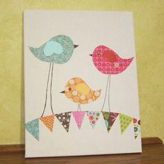 For the baby room...Children's Room Canvas Art, Nursery Decor, 11X14, birds on bunting via Etsy