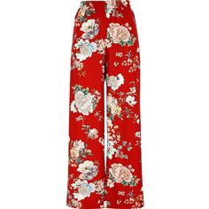 River Island Red floral wide leg high waisted pants (£64) ❤ liked on Polyvore featuring pants, trousers, bottoms, high-waist trousers, red wide leg trousers, floral pants, high-waisted pants and wide leg trousers