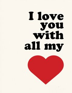 I love you with all my heart poster print wall art por nutmegaroo
