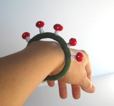 Mushrooms Crochet Bracelet. via Etsy.
