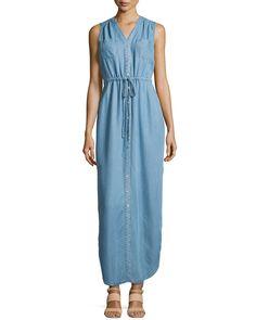 Neiman Marcus Sleeveless Denim Maxi Dress, Soft Denim