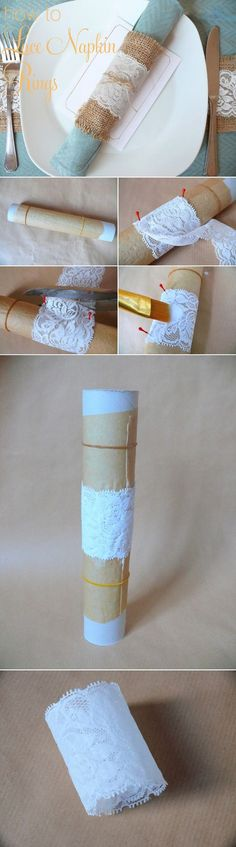 DIY lace napkin rings - perfect for a rustic, vintage or even formal wedding   #diy