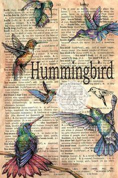 PRINT: Six Hummingbirds Mixed Media Drawing on an Antique