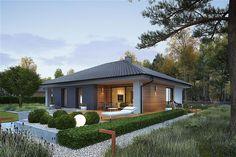 Projekt domu parterowego Mini 4 energo o pow. 109,88 m2 z dachem kopertowym, z tarasem, sprawdź!
