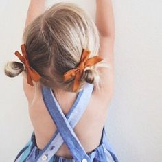 hair bows and romper, kid style, little girl fashion ideas inspriation