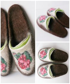 f3c3feb230d BROWN HOME SHOES felted slippers wool slippers for mom women slippers  flower slippers brown house shoes bridesmaids slippers interior shoes