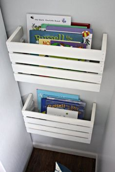 DIY Storage Ideas - Great Crate Book Storage - Home Decor and Organizing Projects for The Bedroom, Bathroom, Living Room, Panty and Storage Projects - Tutorials and Step by Step Instructions for Do It Yourself Organization http://diyjoy.com/diy-storage-ideas-organization