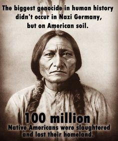 İnsanlık tarihinin en büyük soykırımı, Nazi Almanyasında değil, Amerikan topraklarında gerçekleşti. 100 milyon yerli Amerikalı katledildi ve vatanlarını kaybetti. (Çeviri doğrumu bilemiyorum. Zorlandım azcık.) #americanhorrorstory #kızılderili #apache #abd #usa