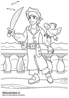 kleurplaat piraten 2, kleuteridee.nl , op de site nog veel meer piratenkleurplaten, pirates coloring free printable.