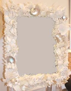My Island Home - Coral & Shell Mirror - whites & pearls
