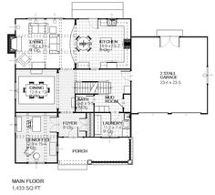 Traditional Style House Plan - 3 Beds 2.5 Baths 2862 Sq/Ft Plan #901-2 Floor Plan - Main Floor Plan - Houseplans.com
