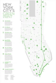 infographic that highlights all the green initiative efforts in New York City.An infographic that highlights all the green initiative efforts in New York City. Information Design, Information Graphics, Map Diagram, Web Design, Design Tech, Urban Design, Green Initiatives, Communication Design, Location Map