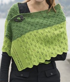 Free Knitting Pattern for Leafy Transitions Wrap - Rectangular shawl with 2 different all over leaf lace patterns. Lace instructions are both written and charted. Light Fingering weight yarn. Designed by Michael Harrigan for Cascade Yarns.