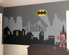 Custom Wall Decals and Murals for Home Decor by decalideas on Etsy Childrens Room Decor, Boys Room Decor, Bedroom Boys, Batman Stickers, Wall Stickers, Superhero City, Batman City, Custom Wall Decals, Traditional Wallpaper