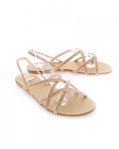 Růžovo-zlaté sandály Sinta zboku