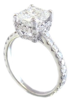 18k white gold cushion cut diamond engagement ring. OMG.