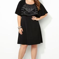 Studded Overlay Dress-Plus Size Dress-Avenue