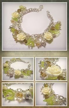 This romantic, classy, richly ornated bracelet made of resin roses, tekla pearls, champagne and clear quartz crystal faceted beads, green acrylic leaves, green and white frosted acrylic flowers and stardust beads. They are attached to a very sturdy link chain bracelet. All metal parts are silver plated.