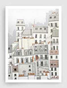 Paris illustration - Paris, Montmartre - Art illustration,Art prints,Art Posters,Paris art,Paris decor,wall decor,grey,white
