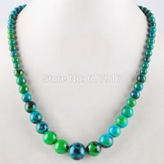 "Find More Chain Necklaces Information about Free Shipping 2015 New Fashion 6 14 mm Chrysocolla Round Beads Jewelry Necklace 17.5"" 1Pcs TF1099,High Quality necklace famous,China necklace cat Suppliers, Cheap necklace k from Crazy Jewelry on Aliexpress.com"