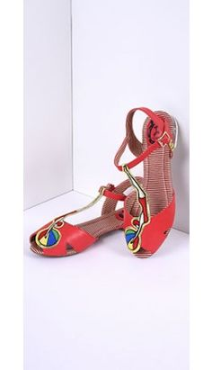 70c9bd05c Retro Style Red Embroidered Bathing Beauty T-Strap Sandals T Strap Sandals