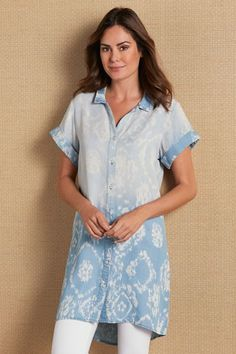 Faded medallions seem to float over our spectacular tunic, dip-dyed for a subtle ombre effect. A front button closure, short cuffed sleeves, dropped-tail hem complete the wonderfully drapey design. Shades of Sea Tunic Subtle Ombre, Ombre Effect, Soft Surroundings, Late Summer, Cuff Sleeves, Dress Pants, Short Sleeve Dresses, Tunic Tops, Shades