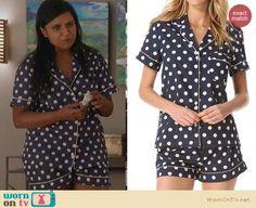 The Mindy Project PJs: Three J NYC Eloise Polka Dot Pajamas worn by Mindy Kaling
