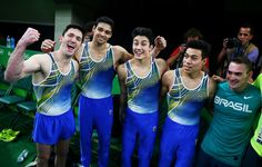 RIO DE JANEIRO, BRAZIL - AUGUST 06: Team Brazil, (L-R) Diego Hypolito, Francisco Barretto Junior, Arthur Mariano, Sergio Sasaki and Arthur Zanetti celebrate after the Artistic Gymnastics Men's Team qualification on Day 1 of the Rio 2016 Olympic Games at Rio Olympic Arena on August 6, 2016 in Rio de Janeiro, Brazil. (2484×1584)