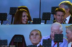 Happy: Catherine, Duchess of Cambridge and the Chairman of the London 2012 Organising Committee Sebastian Coe, right, are pictured at the the closing ceremony