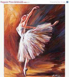 Ballerina Art Original Oil Painting on Canvas Signed Wall Decor