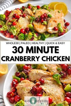 This One Pan Cranberry Orange Chicken Skillet recipe is a one dish your family will ask for again and again. It's an easy to make Whole30 Cranberry Chicken Skillet made with chicken breasts, fresh cranberries, fresh oranges, and broccoli. || Ana Ankeny - Healthy Recipes || Chicken Skillet Recipes, Kid Friendly Chicken Recipes, Chicken Lunch Recipes, Mexican Chicken Recipes, Chicken Appetizers, Skillet Meals, Cranberry Chicken, Orange Chicken, Whole 30 Recipes
