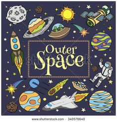 Outer Space doodles, symbols and design elements: spaceships, ufo, planets, stars, rocket, astronauts, sun, satellite, comets. Cartoon space icons for kid's book cover. Hand drawn illustration