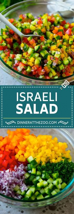 Israeli Salad Recipe Cucumber Salad Tomato Salad Chopped Salad salad cleaneating healthy glutenfree lowcarb keto sidedish lunch dinneratthezoo is part of Salad recipes - Salad Recipes For Dinner, Chicken Salad Recipes, Healthy Salad Recipes, Healthy Salad For Lunch, Lettuce Salad Recipes, Vegetable Salad Recipes, Tomato Salad Recipes, Vegetarian Salad, Chopped Salad Recipes