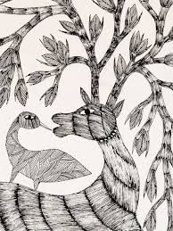 Image result for images of black and white gond paintings