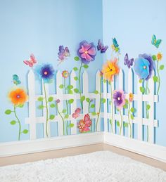 Create a Garden Room Picket Fence garden fairy 3-d stickers on the wall with window.