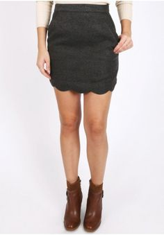 Charcoal scalloped mini skirt with side pockets and invisible back zip closure. Unlined, opaque. I would so so so love this if it was longer.
