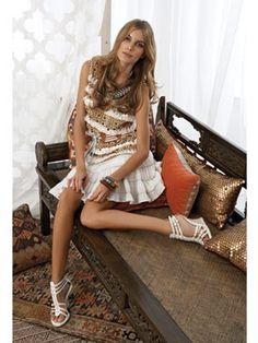 summer boho fashion • {tory burch top • armani skirt}