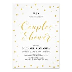 Modern Gold Couples Wedding Shower Invitation - wedding shower gifts party ideas diy cyo personalize