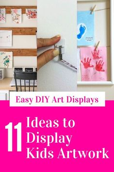 11 Creative Ways to Display Kids Artwork Displaying Kids Artwork, Shabby Chic Painting, Kitchen Display, Lighted Canvas, Painted Boards, Old Frames, Hanging Signs, Diy Wall Decor, Art For Kids