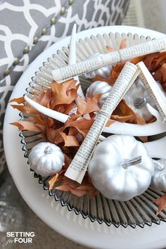 DIY Quick and Easy Fall Centerpiece decor idea using items you have at home. www.settingforfou...