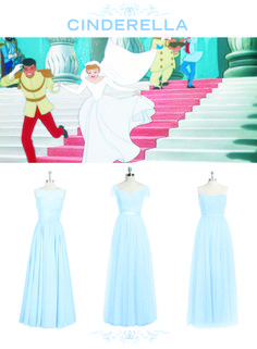 6 Bridesmaid Sets Inspired By Disney Weddings | Cinderella-inspired mix and match pastel blue bridesmaids dresses | [ http://di.sn/6000BfnIK ]