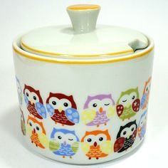 Porcelain Owl Sugar Bowl Pinned by www.myowlbarn.com