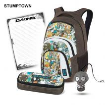 Dakine CAMPUS LG + SCHOOL CASE School Set Stumptown        Volume: 33 L      Dimensions: 51 x 33 x 23 cm      Weight: 0.8 kg      two spacious main compartments      rear main compartment: fits A4 folders / integrated,      padded laptop compartment (maximum laptop size: 38 x 28 x 4 cm) $72