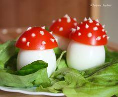 Muchomorki z jajek - DusiowaKuchnia.pl Edible Mushrooms, Stuffed Mushrooms, Garden Picnic, Tea Party, Panna Cotta, Food And Drink, Eggs, Easter, Baby Shower