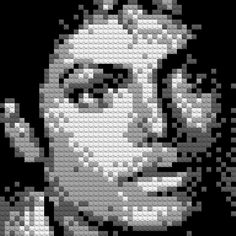 Brixels – Michael Jackson portrait out of lego bricks Lego Portrait, Mosaic Portrait, Michael Jackson, Cross Stitch Designs, Cross Stitch Patterns, Lego Mosaic, Lego Sculptures, Lego Worlds, Lego Brick